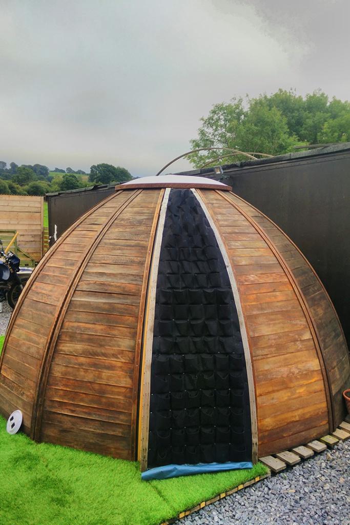 Greenwall livingwall vertical garden on geodesic dome